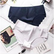 レディースショーツ パンツ 7色 スカラップカット インナー下着 シームレス お尻すっぽり 可愛い インナー