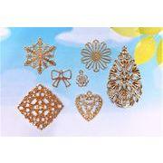 【銅製高品質】 透かしパーツ  極薄メタルパーツ リボン 雪の結晶