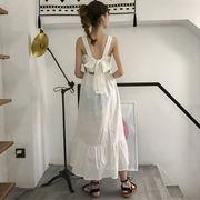 夏 女性服 心 機 リボン 中空 背中開き ノースリーブ ワンピース シンプル 単一色