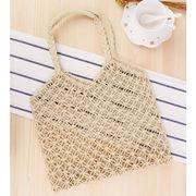 棉縄編みビーチトートバッグ カゴバッグ 麦わらバック ハンドバッグ ビーチバッグ