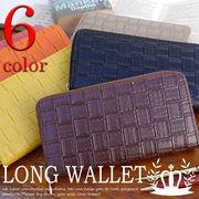 財布 メンズ レディース 長財布 ラウンドファスナー 小銭入れ カード入れ 型押し YR-006-02