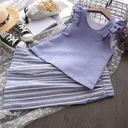 キッズ洋服 夏 新しいデザイン セット 女 赤ちゃん 襟 飛びます 袖 ノースリーブ ベ