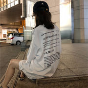 韓国風 ルース 着やせ パッチ レターズ プリント 何でも似合う 中長スタイル 半袖Tシ