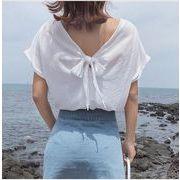 レディーストップス 3色 ブラウスシャツ シンプルTシャツ バックリボン半袖 ロールアップ 無地 キュート