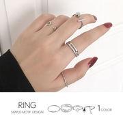 【即納】【リング】4本1セット!シンプルモチーフデザインリング指輪[kgf0089]