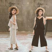 夏 子供服 トップス+ワイドパンツ 女の子 セットアップ 2点セット カジュアル 2色
