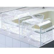 クリア+バラ模様の浴用品 『クリアローズ』 ホワイト色