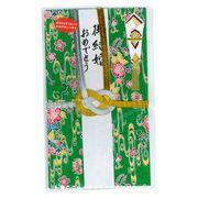 ご祝儀袋(結切) アカバナ柄紅型和紙(新緑色・白線)
