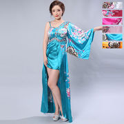 1054A豪華ビジューサテン和柄ワンショルロング着物ドレス 和柄 花魁 コスプレ キャバドレス
