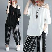 【春夏新作】ファッショントップス♪ブラック/ホワイト2色展開◆