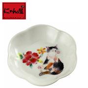 「にゃん屋」★花猫小皿 レッド