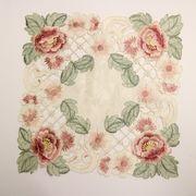 テーブルセンター薔薇のカット刺繍角型SQ