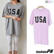 バック イラストプリント USA ワイド Tシャツ レディース 大きいサイズ 2018 春服 夏服