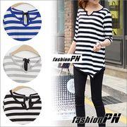 Ribbon Stripe Tシャツ レディース 大きいサイズ 夏服 秋服 カットソー カジュアル