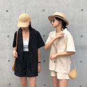 韓国風 夏 五分袖 ラペル 薄いスタイル スーツ 薄いコート カーディガン + レジャー