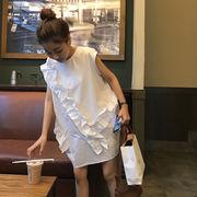 夏服 女性服 韓国風 ルース 夏 フリル + ベスト シャツ 着やせ 丸襟 ノースリーブ