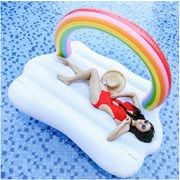 浮き輪 フロート 大人用 レインボー かわいい フローティングベッド プール ビーチ パーティー