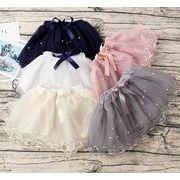 ミニスカート キッズ 子供 女の子 チュールスカート ダンス 5色 真珠付き