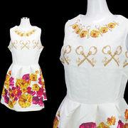 【即納】ふんわり可愛い プリント柄 ジャガード織 ミニドレス