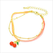 チェーン&カラーヤーンのフルーツモチーフブレスレット