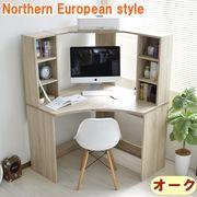 【7/下】パソコンデスク L字型 コーナー 机 オーク 北欧風 AIDEN-OAK
