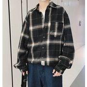 秋冬新作メンズワイシャツ チェック柄トップス大きいサイズ おしゃれ♪ホワイト/ブラック2色