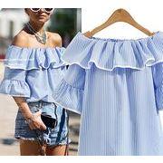 【大きいサイズL-4XL】【春夏新作】ファッショントップス♪ホワイト/ブルー2色展開◆