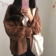 秋冬 新しいデザイン ニットのセーター 女性の長袖 ルース 韓国風 単一色 怠惰な 原宿