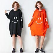 【秋冬新作】ファッションワンピース♪オレンジ/ブラック2色展開◆
