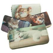 かわいい猫の写真をプリント ラウンドファスナー長財布 ネコ ねこ