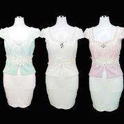 【即納】【ご奉仕品】胸元パール&ビジュー飾り★ぺプラム型★ミニドレス