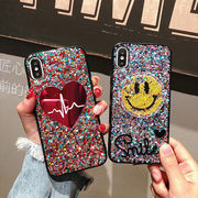 Smile キラキラ iPhoneX ケース ハート柄 アイフォン ハードケース