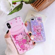 キラキラ iphone x ケース かわいい iphone8 ケース 流れる 猫柄スマホケース