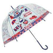[59cm]可愛いビニール傘 ドーム型 手開き式 LONDON柄 秋冬新作