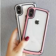 送料0★4色 縁どり シンプル クリア iPhone x iPhoneケース