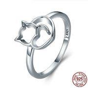 【Silver925】猫ハートリング