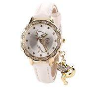 優美な白ネコ腕時計