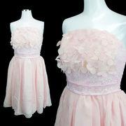 【即納】【ご奉仕品】胸元立体花刺繍 シフォンフレア 上品 ミニドレス