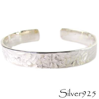 バングル / 3-97  ◆ Silver925 シルバー バングル 平打ち&槌目(L) N-801