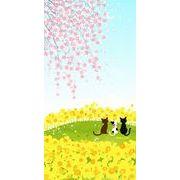 のれん   170cm丈 ロングサイズ three cats「しだれ桜」【日本製】 コスモ 目隠し