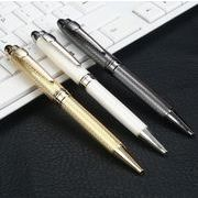 ノック式ボールペン 金属製ボールペン 文房具 筆記具 ブルー/ブラックインク