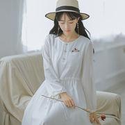 【森ガール系】刺しゅうリボン結び長袖ワンピース_556392513360