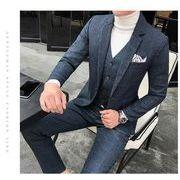 0e790c6f1b2a3 新品 チェック柄 3点セット ジャケット+ベスト+パンツ メンズスーツ ビジネス 結婚式