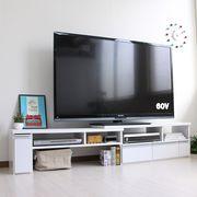 伸縮テレビ台 60インチ対応 ローボード  コーナーTV台にも  ホワイト JVA-102-WH