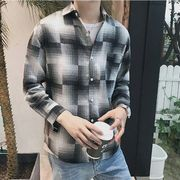秋冬新作メンズワイシャツ トップスチェック柄 おしゃれ♪グレー/レッド2色