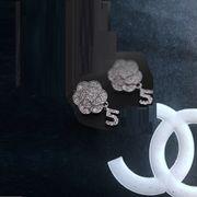 定形外773445】ピアス イヤリング カメリア 椿の花 バラ 薔薇 camellia coco フラワー ラインストーン NO5
