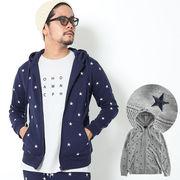 【2018秋冬新作】 メンズ スター総柄刺繍 セットアップ可 ZIPパーカー