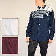 ☆【2018秋冬新作】ネル起毛 パネルボーダー ボタンダウンシャツ