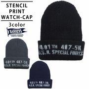 帽子 ニット帽 メンズ レディース ニット キャップ ワッチ ステンシルプリント 英字 PENNANTBANNERS