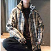 秋冬新作メンズコート ジャケット トップスチェック柄 おしゃれ♪ブラック/ベージュ2色